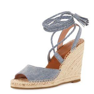 Phyllis wedge sandal in denim blue